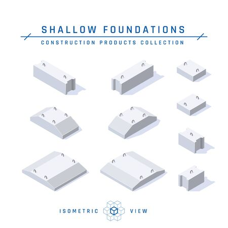 Concrete foundations, isometric view. Set of icons for architectural designs. Vector illustration isolated on a white background in flat style. Construction products collection. Illustration