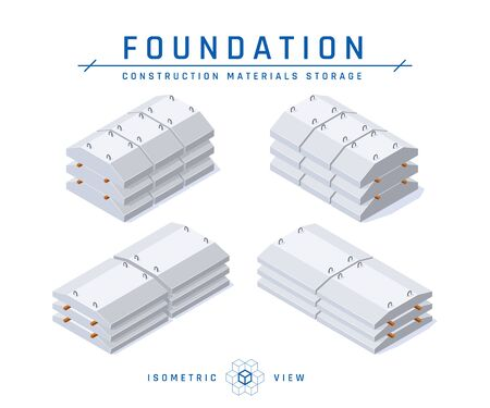 Concrete foundation storage concept, isometric view. Set of icons for architectural designs. Vector illustration isolated on a white background in flat style. Construction products collection.