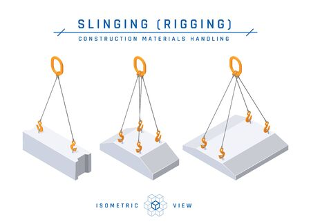 Foundation slinging concept, isometric view. Construction products collection. Vector illustration isolated on a white background in flat style.