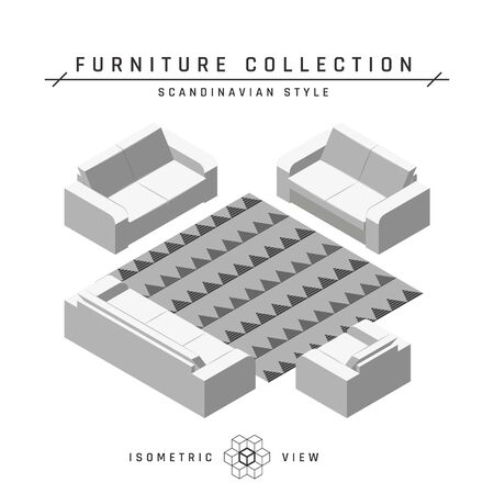 Isometric sofas and armchair. Living room concept. Set of icons in different positions. White geometric furniture in scandinavian style. Flat vector illustration isolated on a white background. Ilustracja