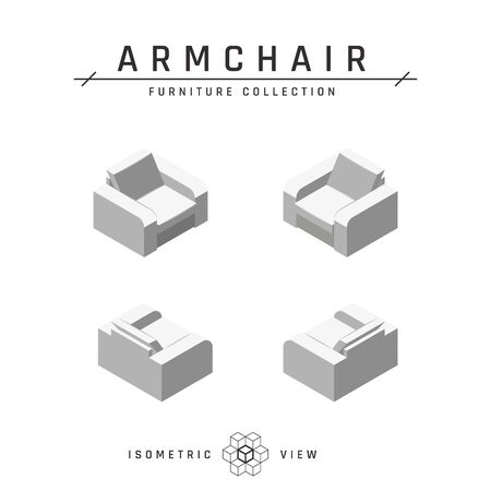 Isometric armchair. Set of icons in four positions. White geometric furniture in scandinavian style. Flat vector illustration isolated on a white background.