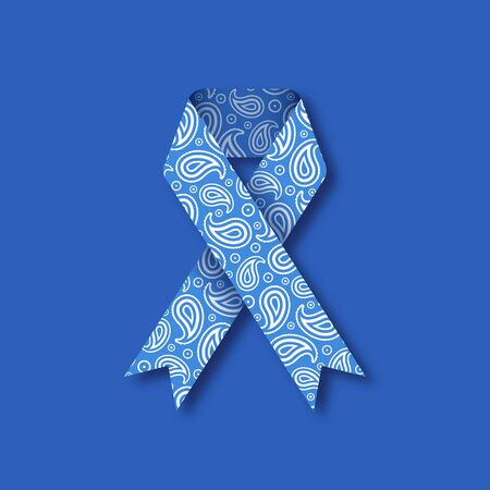 Thyroid awareness month. Medical concept with blue paisley ribbon. Vector illustration in paper cut style.