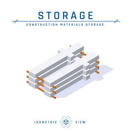 Concrete columns, storage concept, isometric view. . Set of icons for architectural designs. Vector illustration isolated on a white background in flat style. Construction products collection.
