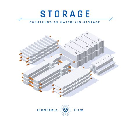 Concrete storage concept, isometric view. . Set of icons for architectural designs. Vector illustration isolated on a white background in flat style. Construction products collection.