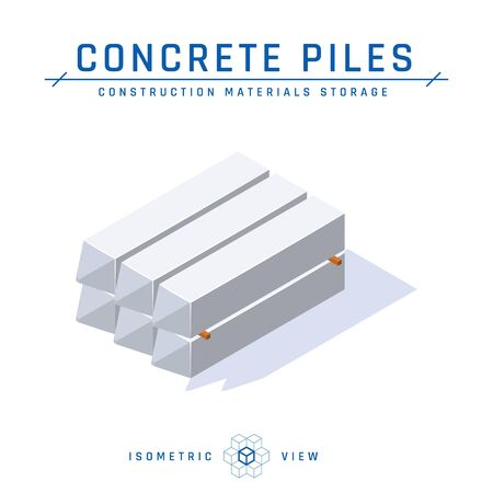 Concrete piles, storage concept, isometric view. Icon for architectural designs. Vector illustration isolated on a white background in flat style. Construction products collection.
