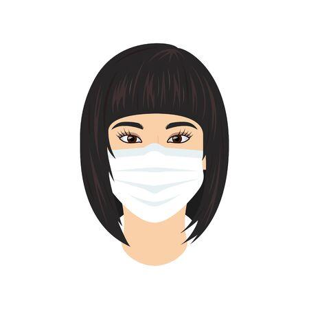 Coronavirus concept. woman in medical mask. 2019-nCoV pictogram. Vector illustration in flat style for medical designs, infographics. Standard-Bild - 141596651