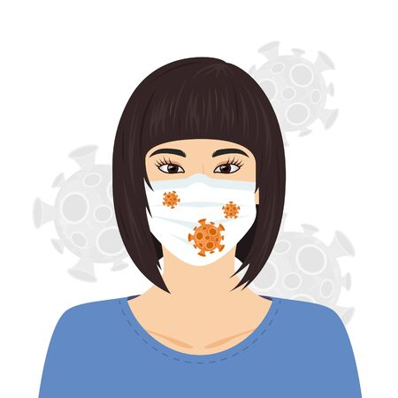 Coronavirus concept. woman in medical mask. 2019-nCoV pictogram. Vector illustration in flat style for medical designs, infographics.