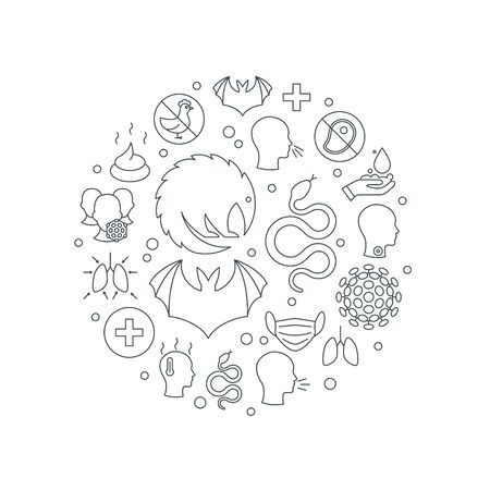 Coronavirus round frame. 2019-nCoV icons in in the shape of a circle. Vector illustration in line style on a white background for medical designs, infographics, posters.
