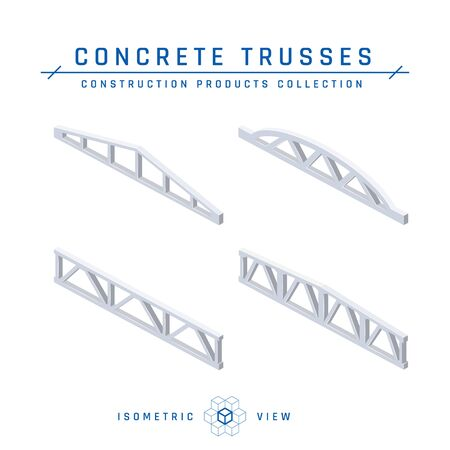 Concrete trusses, isometric view. Set of icons for architectural designs. Vector illustration isolated on a white background in flat style. Construction products collection. Ilustracja