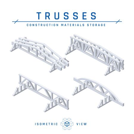 Concrete trusses storage concept, isometric view. Set of icons for architectural designs. Vector illustration isolated on a white background in flat style. Construction products collection.