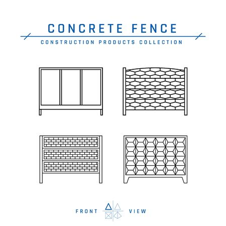 Concrete fence line icons, front view. Building materials collection. Vector illustration isolated on a white background in flat style.