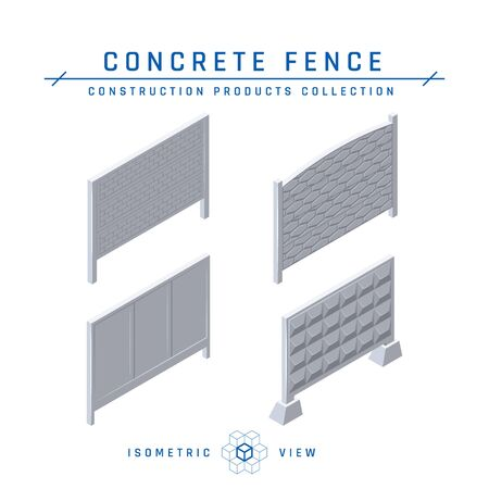Concrete fence icons, isometric view. Building materials collection. Vector illustration isolated on a white background in flat style.