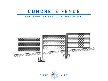 Concrete fence drawing, front view. Building materials collection. Vector illustration isolated on a white background in flat style.