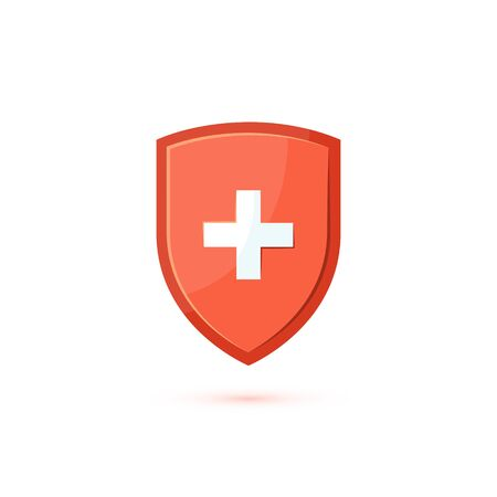 Immune system icon. Concept with a red medical shield. Vector illustration isolated on a white background in flat style.