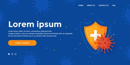 Immunity banner. Immune system concept. Medical Hero image design for clinics, hospitals, healthcare websites. Vector illustration in cartoon style. 스톡 콘텐츠 - 148085948
