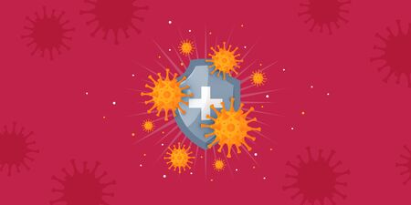 Immunity banner. Immune system concept. Medical horizontal design with shield and viruses for clinics, hospitals, healthcare websites. Vector illustration in cartoon style.