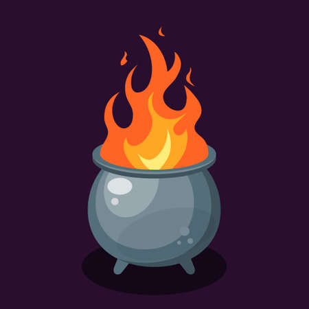 Flame inside a cauldron set. Simple vector illustration in flat style on a violet background.
