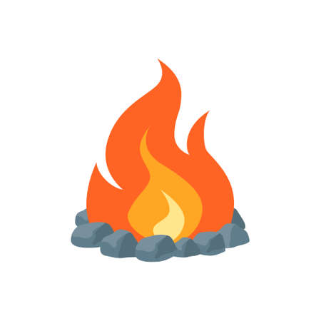 Campfire icon. Simple vector illustration in flat style isolated on a white background. Fireplace concept. 矢量图像