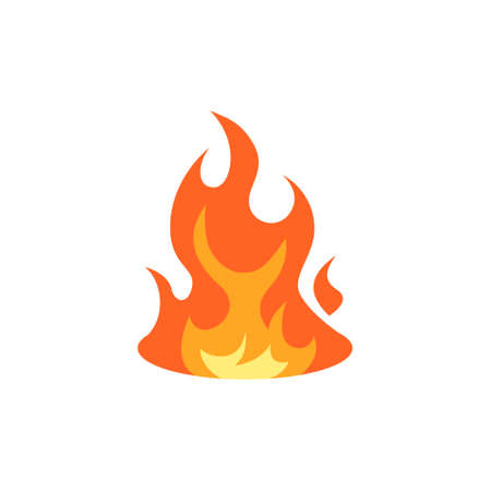 Flame icon. Simple vector illustration in flat style isolated on a white background. 矢量图像