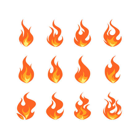 Flame icons set. Simple vector illustration in flat style isolated on a white background. Fire animation concept.