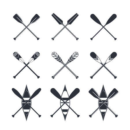 Canoe icons isolated on a white background. Kayak with crossed paddles. Vector illustration in flat style.