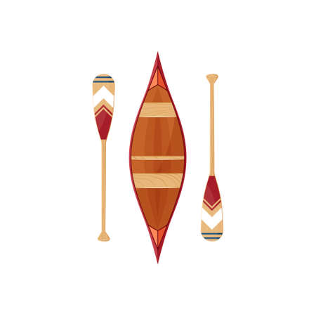 Canoe icon with decorative beavertail paddles isolated on a white background. Vector illustration in flat style. Ilustracja