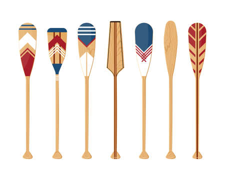 Oars set isolated on a white background. Painted colorful canoe paddles in flat style, vector illustration.
