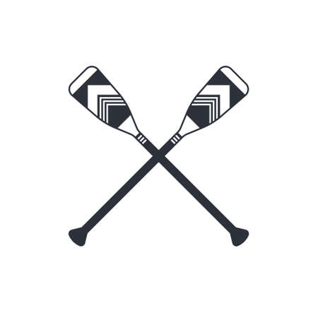Crossed oars isolated on a white background. Square shaped canoe paddles in flat style, vector illustration. Ilustracja