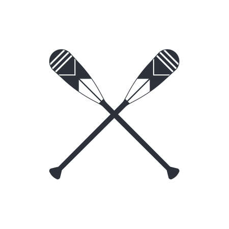 Crossed oars isolated on a white background. Beaver tail canoe paddles in flat style, vector illustration.