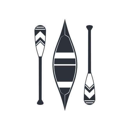Canoe icon with beavertail paddles isolated on a white background. Vector illustration in flat style.