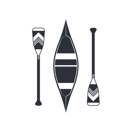 Canoe icon with square shaped paddles isolated on a white background. Vector illustration in flat style.