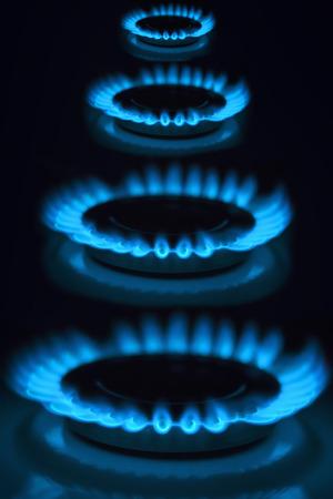 industria del gas estufa de gas natural de la energía de la llama del quemador de gas Foto de archivo