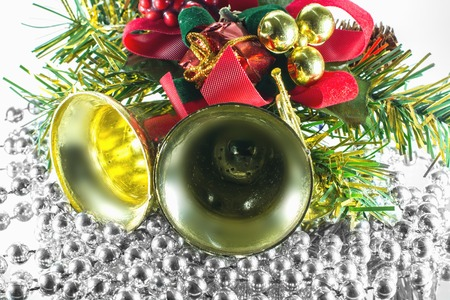 decorations for Christmas trees, bells, red bow photo