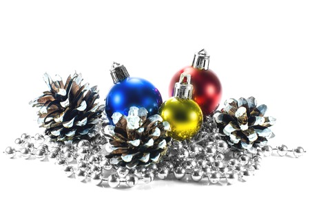 Three Christmas decorations in different colors and bumps photo