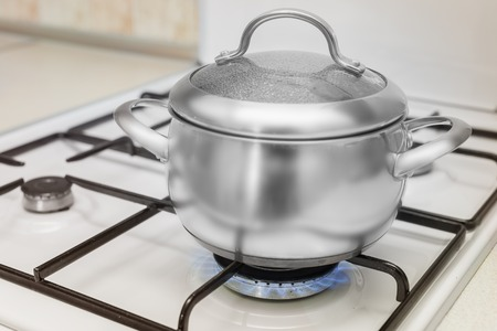 stainless steal: Cover pan on the stove burning flame
