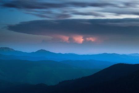 far off: night thunderstorm far far off horizon clouds weather element