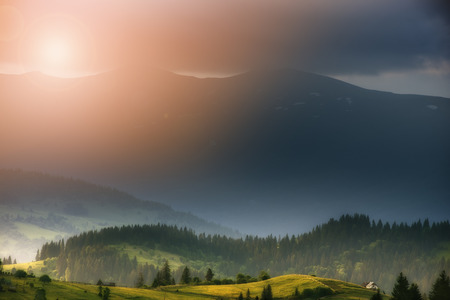 reclusion: lonely hut in Carpathian mountain summer europe nature tourism weather
