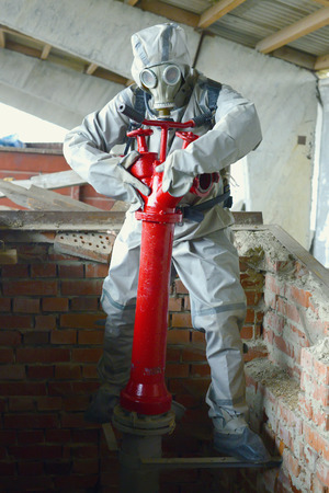 medical ventilator: Worker chemical protection suit holds a special operation to eliminate
