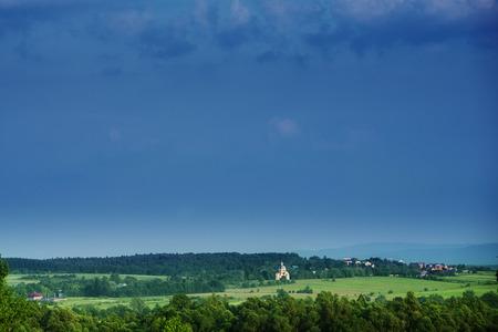 lejos: ahora en los �rboles casas cielo distancia Campos de prados paisaje