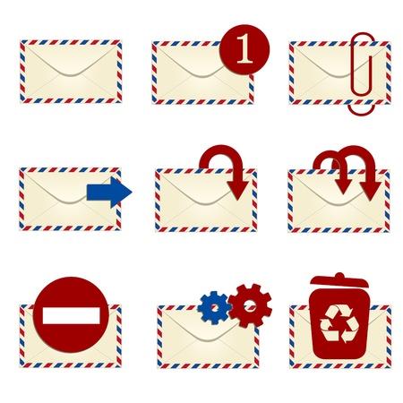 unread: E-mail icon set with avia envelopes  Illustration  Raster
