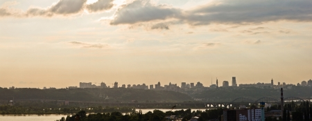 Panoramic image of skyline Kyiv, the capital of Ukraine  photo