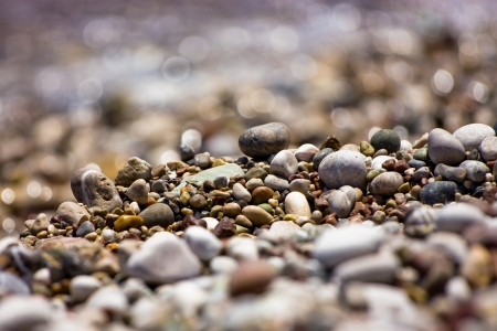 Colored pebbles at the coas of Mediterranean sea  Close-up photo
