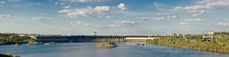 dnieper: Dnieper Hydroelectric Station in Zaporizhia, Ukraine  Panoramic image from several pictures