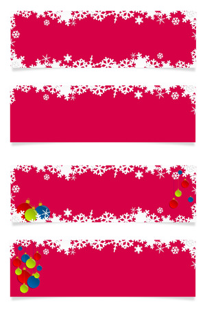Four horizontal red christmas banners with shadow for web photo