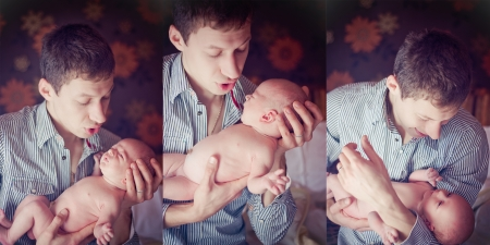 lullaby: Triptych of photos father with son. Indoor Stock Photo