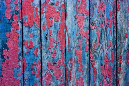 crannied: Wood cracky blue-red grunge texture of old boards