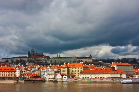 View of Prague Castle in Czech Republic. Bad weather