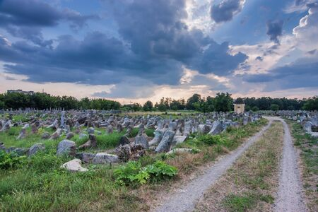 Jewish cemetery at sunset in Zhytomyr, Ukraine Stok Fotoğraf