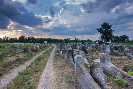 Jewish cemetery at sunset in Zhytomyr, Ukraine