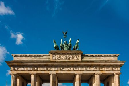 Brandenburg gate over deep blue sky in Berlin, Germany